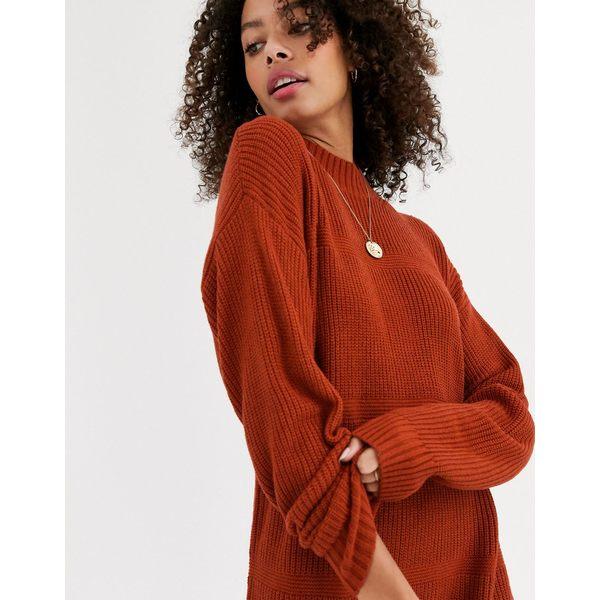 エイソス レディース ワンピース トップス ASOS DESIGN drop stich detailed sweater dress Chestnut