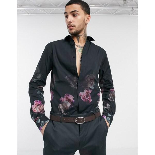 ツイステッドテイラー メンズ シャツ トップス Twisted Tailor shirt with faded rose print in black Black
