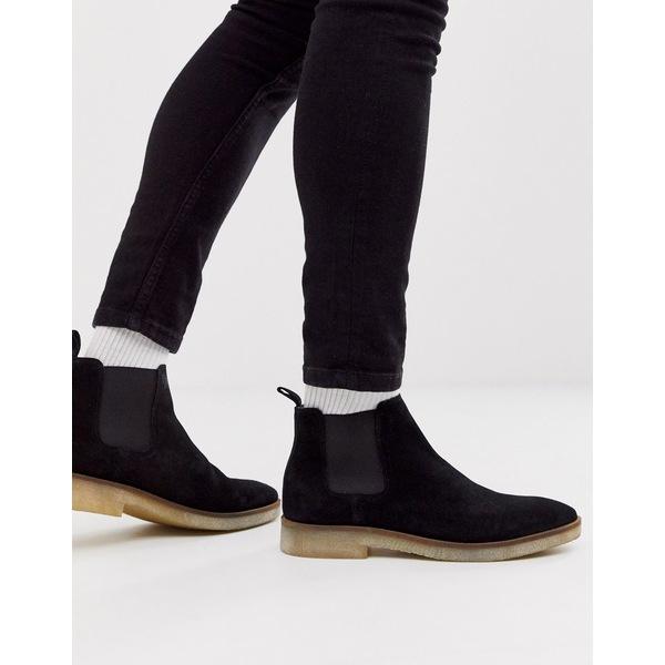 エイソス メンズ ブーツ&レインブーツ シューズ ASOS DESIGN chelsea boots in black suede with natural sole Black