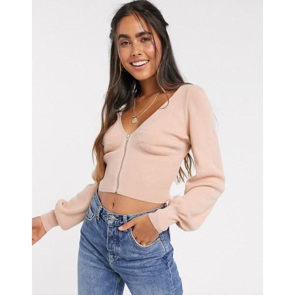 エイソス レディース ニット&セーター アウター ASOS DESIGN cropped sweater with corsetry detail Cosmetic blush