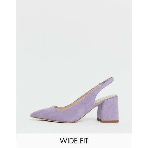 エイソス レディース ヒール シューズ ASOS DESIGN Wide Fit Samson slingback mid heels in lilac Lilac