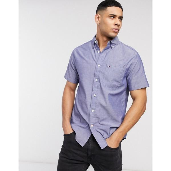 トミー ヒルフィガー メンズ シャツ トップス Tommy Hilfiger wainwright solid long sleeve shirt in blue Collection blue