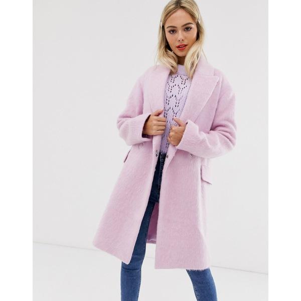 エイソス レディース コート アウター ASOS DESIGN double breasted brushed coat in pink Pink