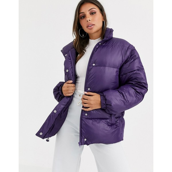 エイソス レディース ジャケット&ブルゾン アウター ASOS DESIGN puffer jacket with detachable sleeves in purple Purple