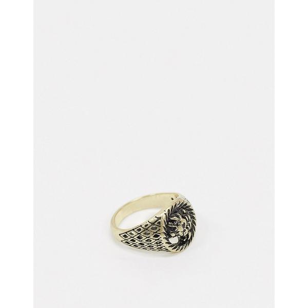 エイソス メンズ アクセサリー リング Gold 全商品無料サイズ交換 エイソス メンズ リング アクセサリー ASOS DESIGN signet ring with sovereign lion detail in burnished gold tone Gold