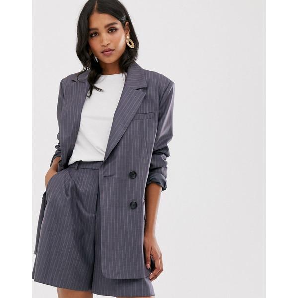 エイソス レディース ジャケット&ブルゾン アウター ASOS DESIGN dad suit blazer in purple pinstripe Pinstripe