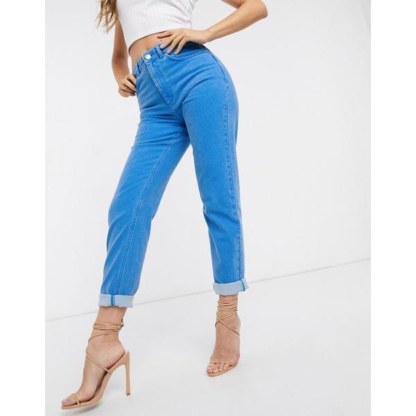 エイソス レディース デニムパンツ ボトムス ASOS DESIGN Farleigh high waist slim mom jeans in cyan blue Ice blue