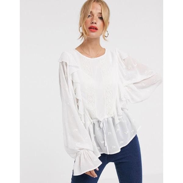 エイソス レディース シャツ トップス ASOS DESIGN long sleeve top with ruffle detail and embroidery Ivory