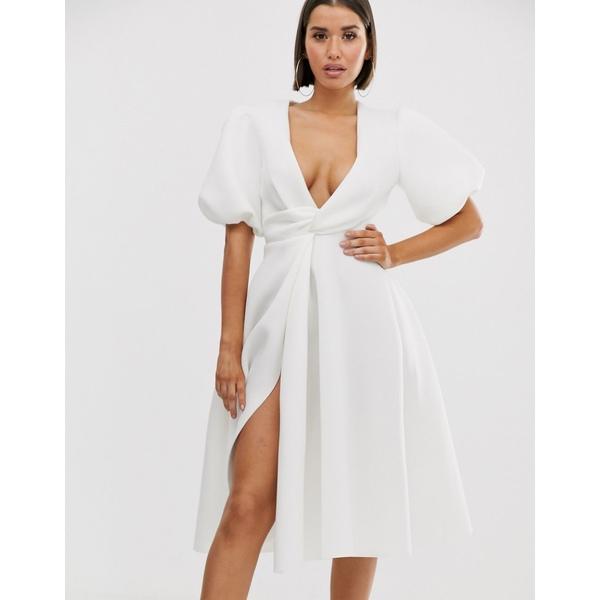 エイソス レディース ワンピース トップス ASOS DESIGN bubble sleeve twist detail midi prom dress Ivory