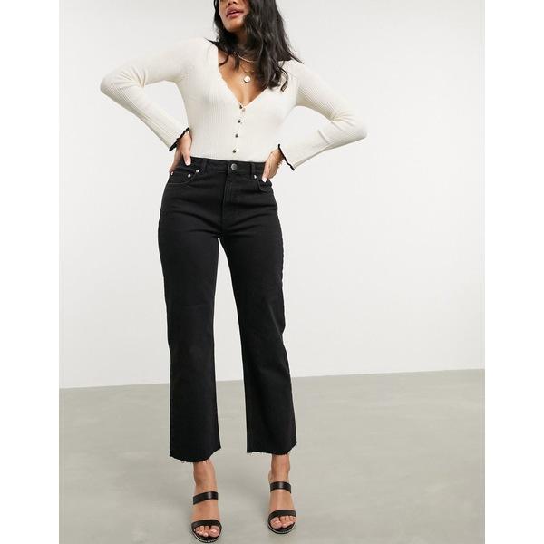 エイソス レディース デニムパンツ ボトムス ASOS DESIGN High rise 'effortless' stretch kick flare jeans in black Black