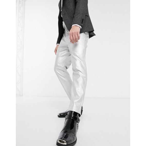 エイソス メンズ カジュアルパンツ ボトムス ASOS DESIGN tapered pants in faux leather in silver Silver
