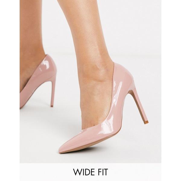 エイソス レディース ヒール シューズ ASOS DESIGN Wide Fit Porto pointed high heeled pumps in beige patent Beige patent
