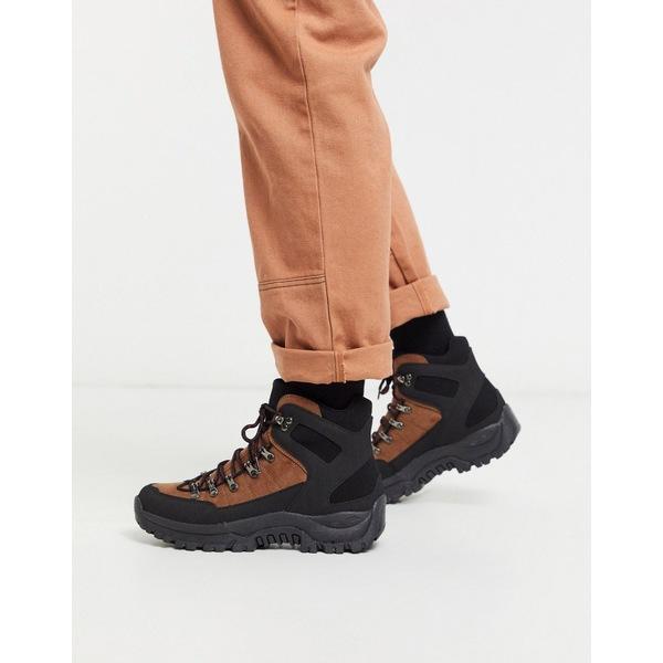 エイソス メンズ ブーツ&レインブーツ シューズ ASOS DESIGN hiker lace up boots in brown and black faux suede Black