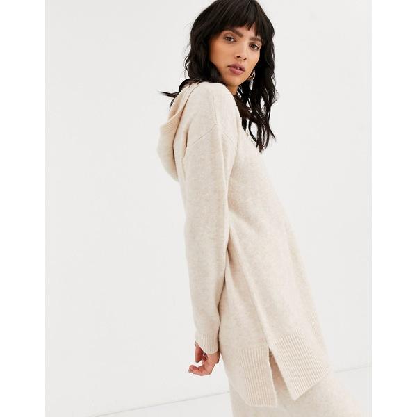 エイソス レディース パーカー・スウェットシャツ アウター ASOS DESIGN two-piece hoody in fluffy yarn Sand