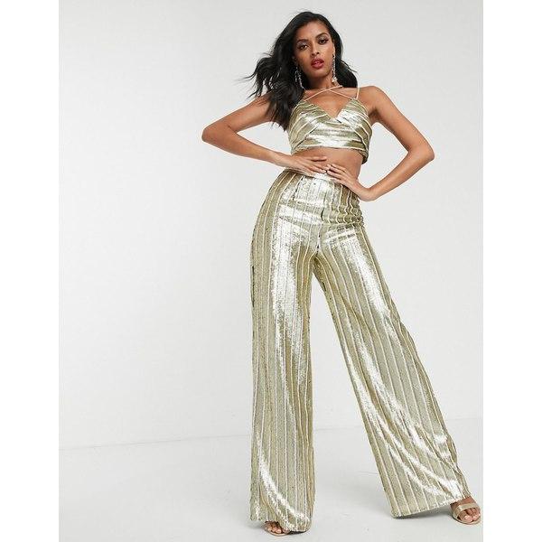 エイソス レディース カジュアルパンツ ボトムス ASOS DESIGN stripe sequin wide leg pants two-piece Stripe sequin