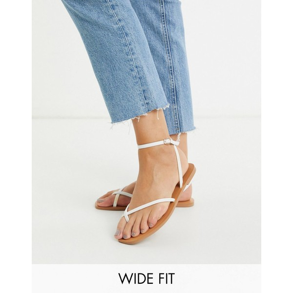 エイソス レディース サンダル シューズ ASOS DESIGN Wide Fit Farnborough minimal toe loop flat sandals in white White