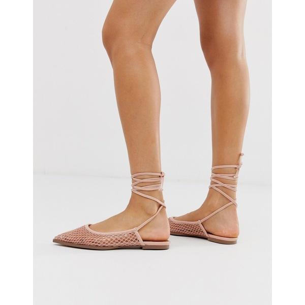 エイソス レディース サンダル シューズ ASOS DESIGN Lucid mesh tie leg ballet flats in beige Warm pink