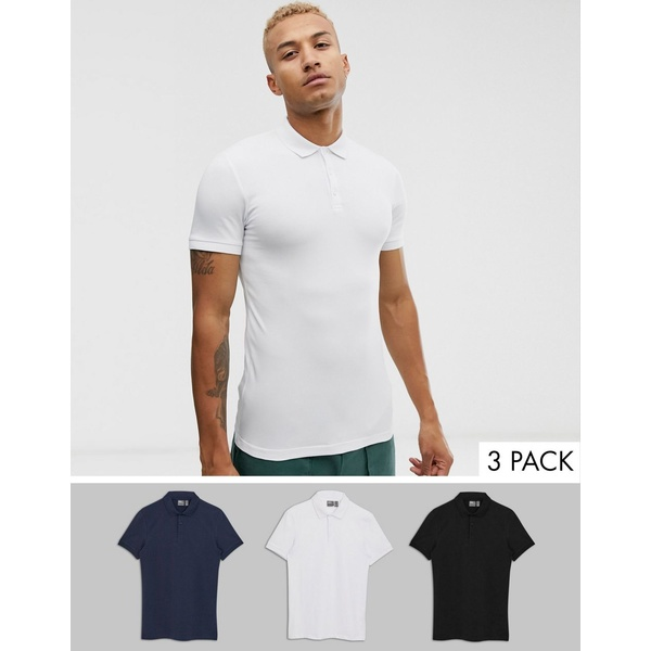 エイソス メンズ ポロシャツ トップス ASOS DESIGN 3 pack muscle fit jersey polo save save White/black/navy