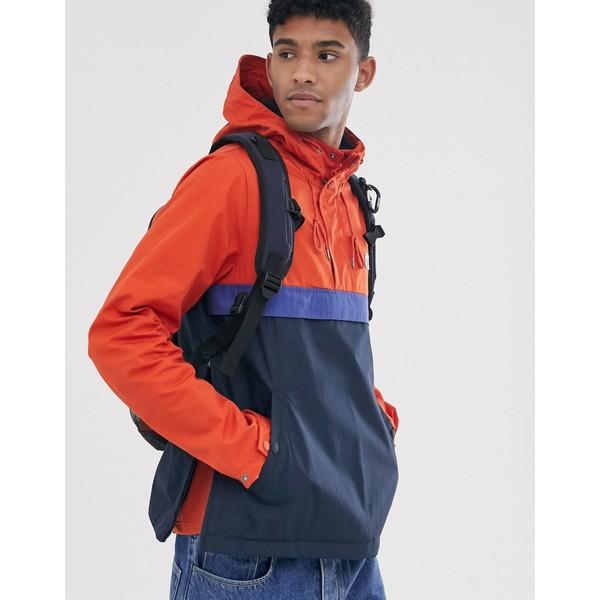 エレメント メンズ ジャケット&ブルゾン アウター Element Barrow 3 tone overhead windbreaker jacket in orange/navy Multi