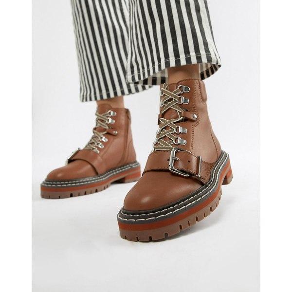 エイソス レディース ブーツ&レインブーツ シューズ ASOS DESIGN Archie Premium Leather Chunky Hiker Ankle Boots Camel leather