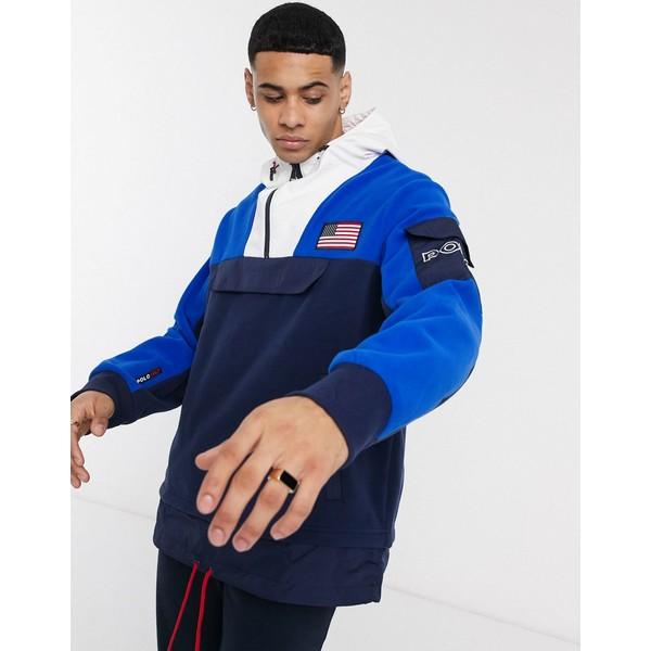 ラルフローレン メンズ ジャケット&ブルゾン アウター Polo Ralph Lauren color block overhead hooded jacket in navy Newport navy