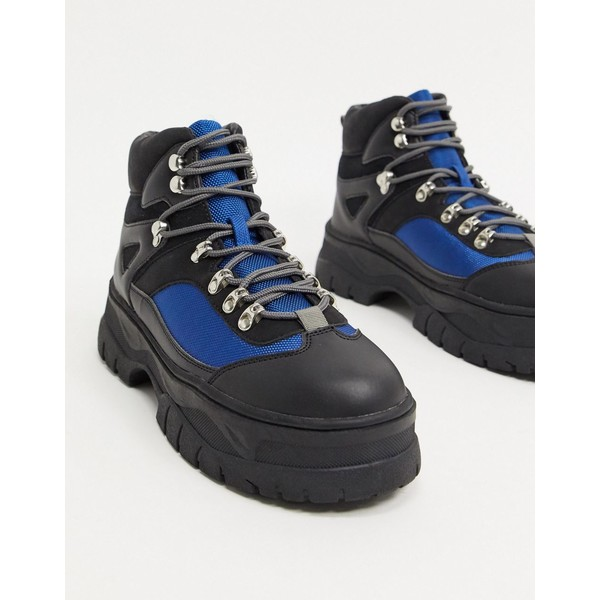 エイソス メンズ ブーツ&レインブーツ シューズ ASOS DESIGN lace up hiker boots in gray faux suede on chunky sole Gray