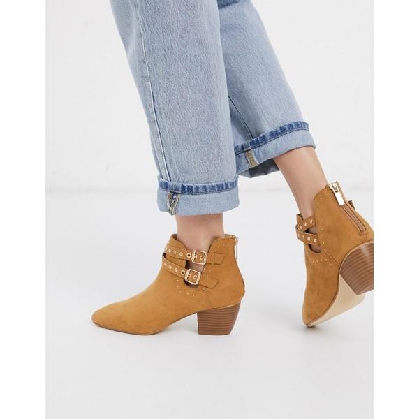 オアシス レディース ブーツ&レインブーツ シューズ Oasis suedette heeled boots with cut out buckle details in tan Tan
