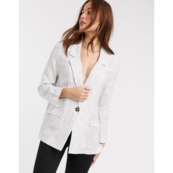 エイソス レディース ジャケット&ブルゾン アウター ASOS DESIGN all rounder linen blazer Stripe