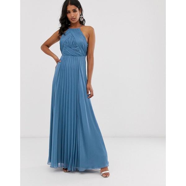 【受注生産品】 エイソス レディース ワンピース トップス ASOS DESIGN Bridesmaid pinny maxi dress with ruched bodice Blue, style ドレスショップ 9dece94d