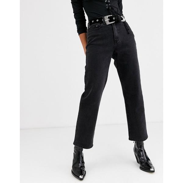 オブジェクト レディース デニムパンツ ボトムス Object straight leg jean in black Black