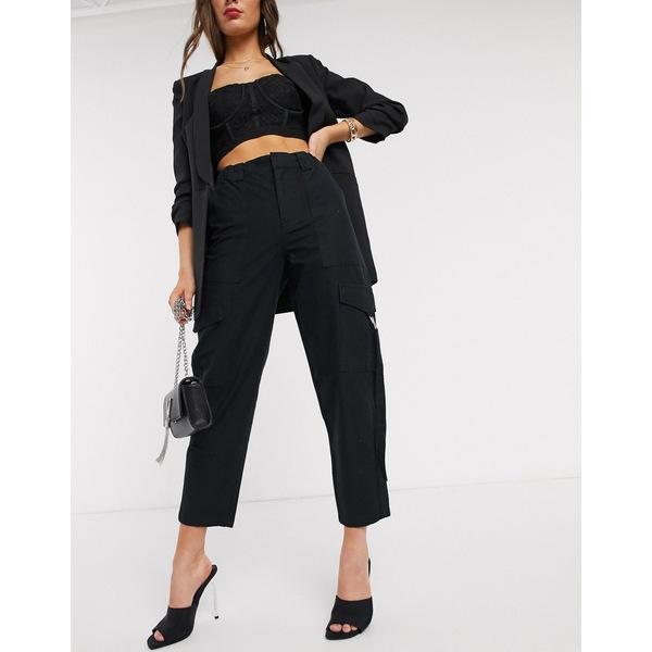 エイソス レディース カジュアルパンツ ボトムス ASOS DESIGN combat pants with pocket detail in black Black