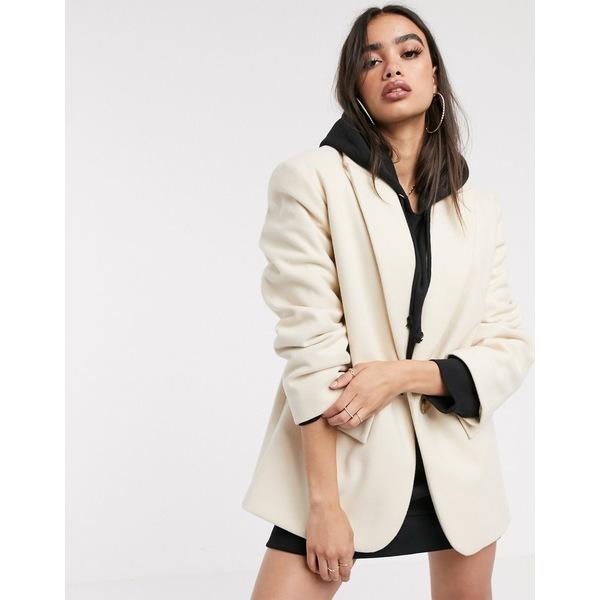 エイソス レディース コート アウター ASOS DESIGN grandad coat in cream Cream