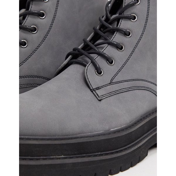 エイソス メンズ ブーツ&レインブーツ シューズ ASOS DESIGN lace up boots in gray faux leather on stacked chunky sole Gray
