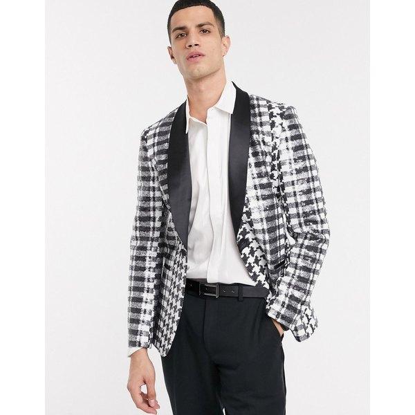 エイソス メンズ ジャケット&ブルゾン アウター ASOS DESIGN slim blazer in monochrome sequin Black