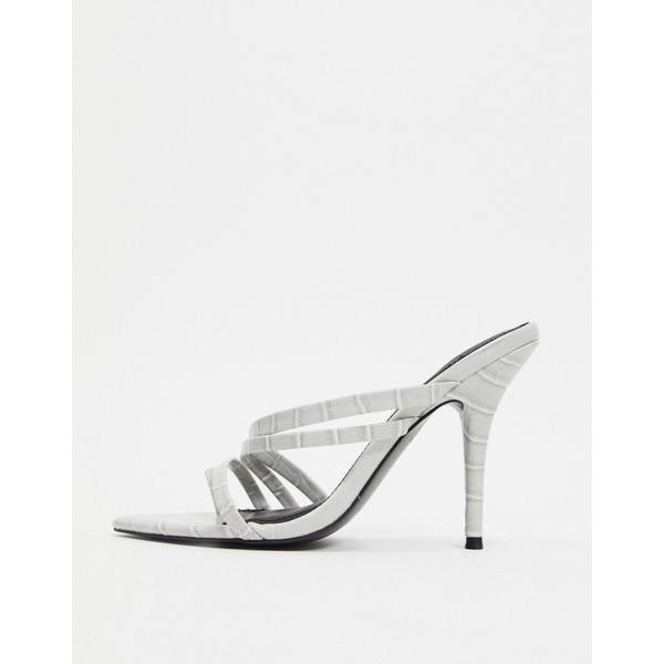 エイソス レディース ヒール シューズ ASOS DESIGN Nirvana pointed insole toe loop heeled sandals in gray croc Gray