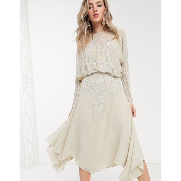 エイソス レディース ワンピース トップス ASOS DESIGN blouson long sleeve midi dress in embellishment Beige