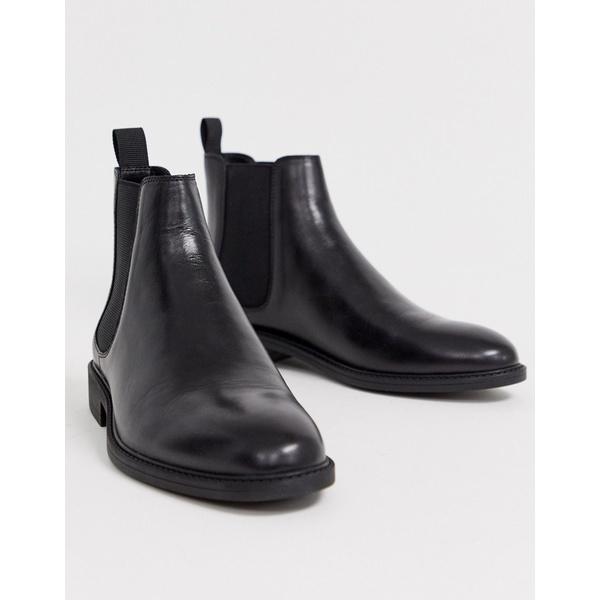 オフィス メンズ ブーツ&レインブーツ シューズ Office mannage chelsea boots in black leather Black