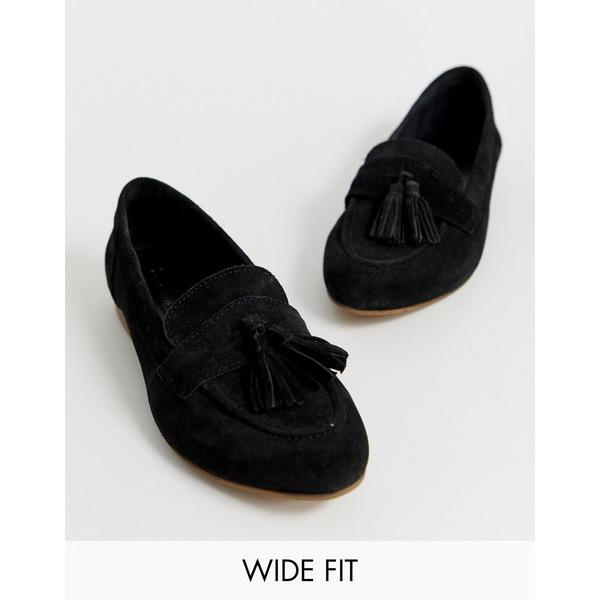 エイソス レディース サンダル シューズ ASOS DESIGN Wide Fit Message suede tassel loafers in black Black