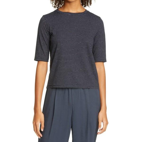 ヴィンス レディース Tシャツ トップス Stripe T-Shirt Coastal/Optic White