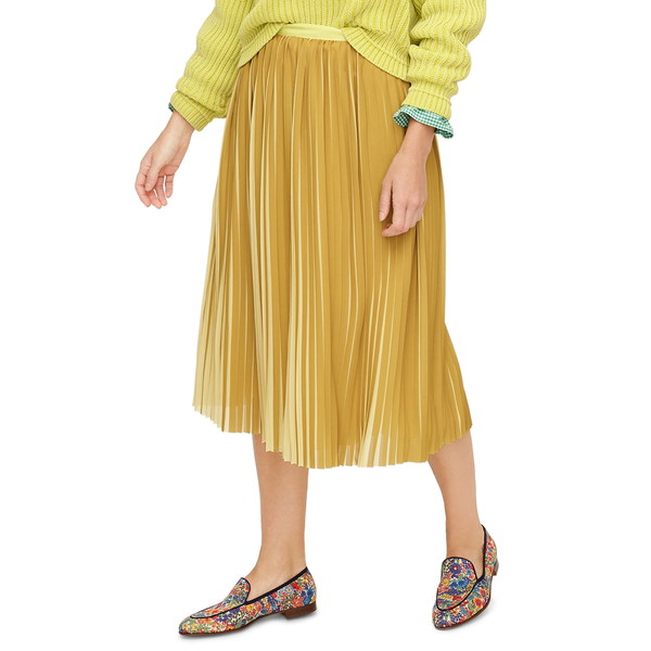 ジェイクルー レディース スカート ボトムス Peekaboo Stripe Pleated Midi Skirt Golden Citrus