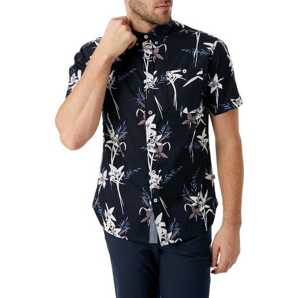 セブンダイヤモンド メンズ シャツ トップス Midnight Hour Slim Fit Tropical Short Sleeve Button-Down Shirt Midnight
