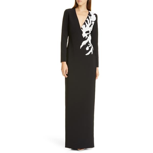 パメラ ローランド レディース ワンピース トップス Sequin Flower Long Sleeve Stretch Crepe Gown Black/ White