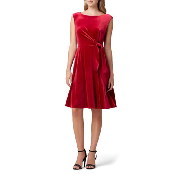 タハリ レディース ワンピース トップス Stretch Velvet Fit & Flare Dress Ruby