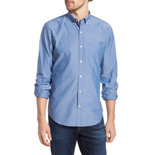 ボノボス メンズ シャツ トップス Summer Weight Slim Fit Polka Dot Chambray Button-Down Shirt Salt Pond Dot - Galaxy Blue