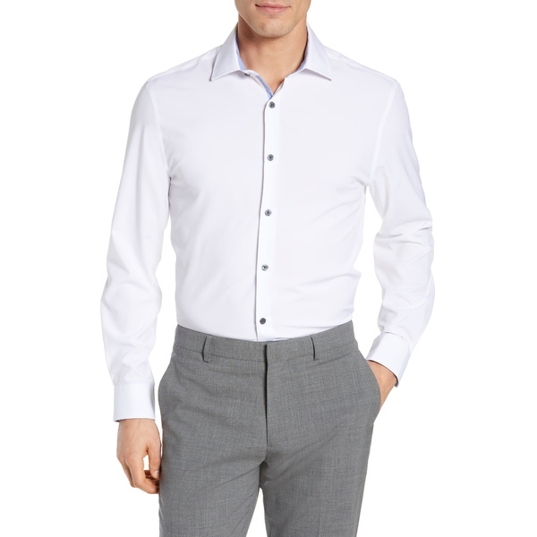 ダブリューアールケー メンズ シャツ トップス Trim Fit Solid Performance Stretch Dress Shirt White