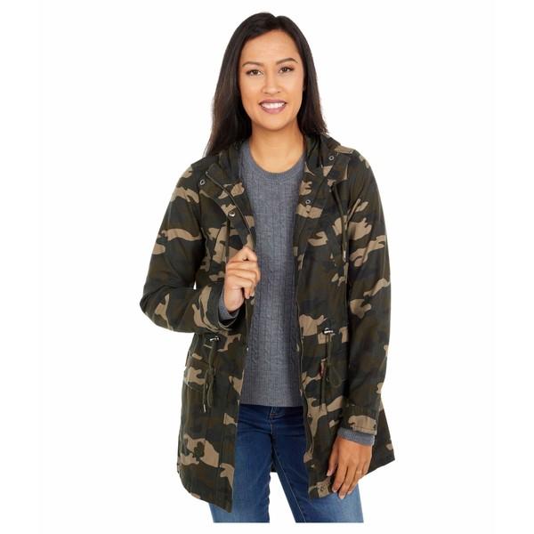 リーバイス レディース コート アウター Printed Cotton Hooded Fishtail Parka Jacket Camo