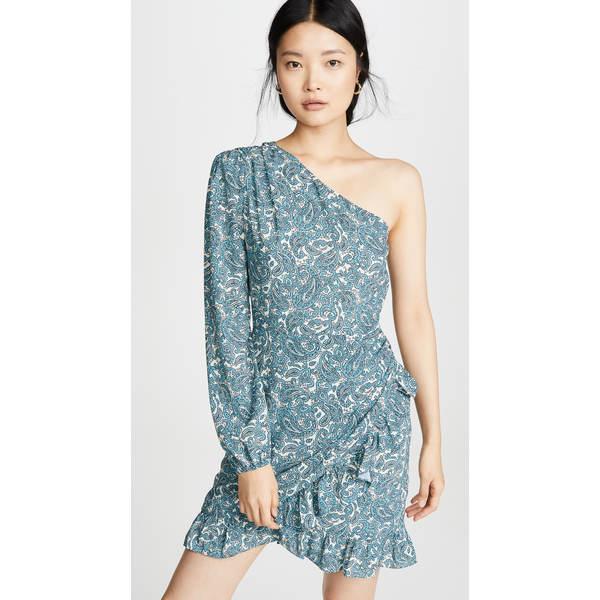 ワイフ レディース ワンピース トップス Michelyne One Shoulder Mini Dress Blue Grey Paisley