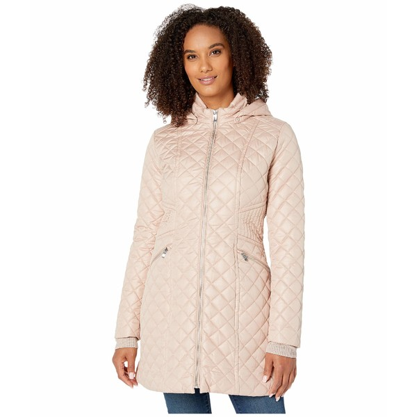 ヴィアスピガ レディース コート アウター Zip Front Stitched Quilt w/ Detachable Hood Blush