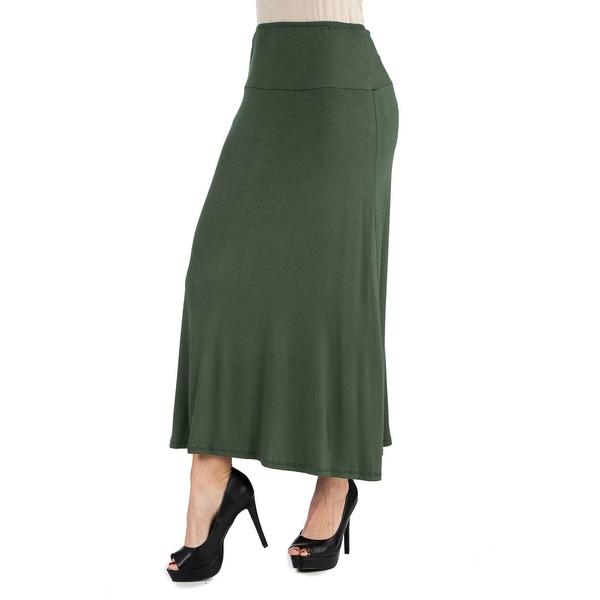 24セブンコンフォート レディース 売り込み ボトムス スカート Olive 全商品無料サイズ交換 Women's Plus Skirt Waist Maxi セール特別価格 Elastic Size