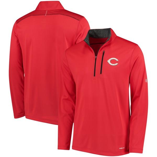 マジェスティック メンズ ジャケット&ブルゾン アウター Cincinnati Reds Majestic HalfZip Pullover Top Red